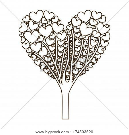 silhouette tree ramifications with hearts leaves vector illustration