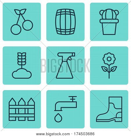 Set Of 9 Planting Icons. Includes Spigot, Rubber Boot, Sweet Berry And Other Symbols. Beautiful Design Elements.