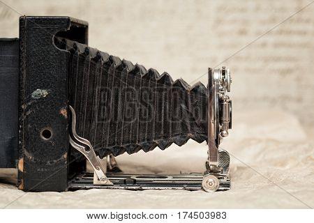Old camera, ancient camera, retro style. vintage camera