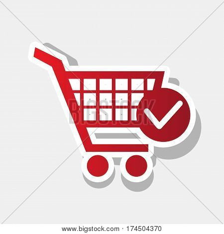 Shopping Cart with Check Mark sign. Vector. New year reddish icon with outside stroke and gray shadow on light gray background.