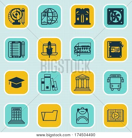 Set Of 16 School Icons. Includes Transport Vehicle, Chemical, Haversack And Other Symbols. Beautiful Design Elements.