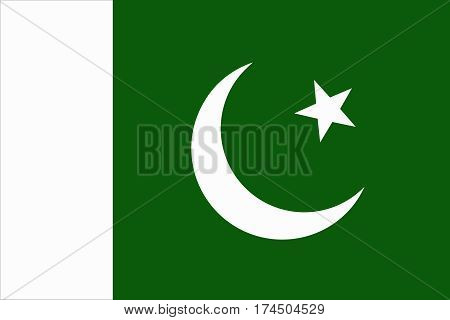 flat pakistani flag in the colors green and white