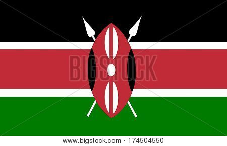 flat kenyan flag in the colors green, red, white and black
