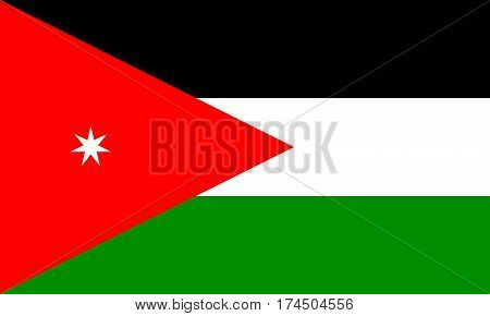 flat jordanian flagin in the colors green, red, white and black