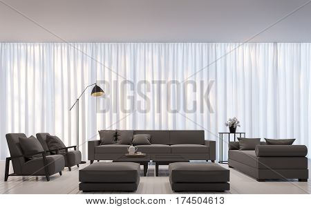 Modern white living room minimal style 3D rendering Image.There are decorated room with white translucent curtain and dark brown sofa