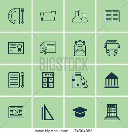 Set Of 16 Education Icons. Includes Graduation, Taped Book, Haversack And Other Symbols. Beautiful Design Elements.