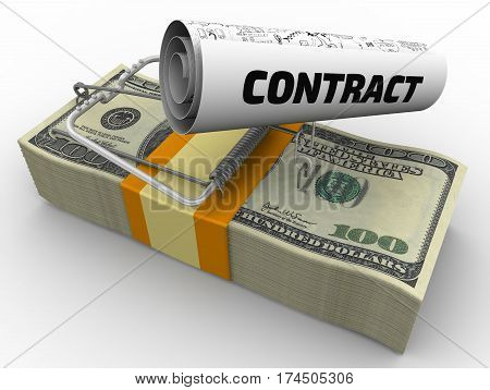 Dangerous contract. Mousetrap from pack of American dollars with bait in form of sheet with text