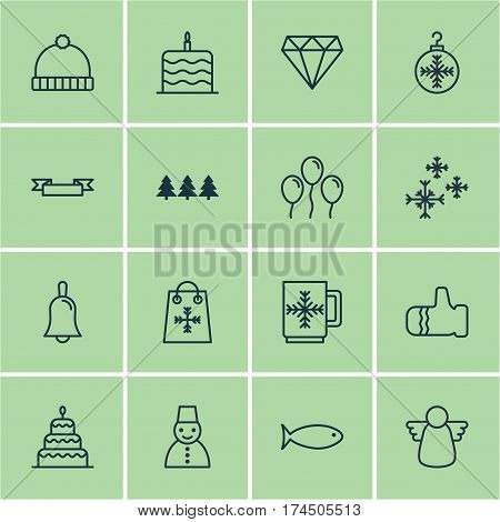 Set Of 16 Celebration Icons. Includes Mitten, Brilliant, Winter Cup And Other Symbols. Beautiful Design Elements.