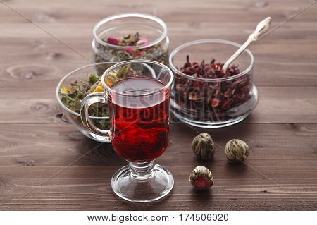 Mallow Tea In Glass With Dried Mallow Blossoms