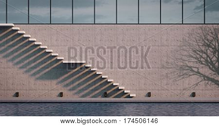 Outdoor Modern cantiliver Stair Concept Design minimalism style stairs illuminated by sun