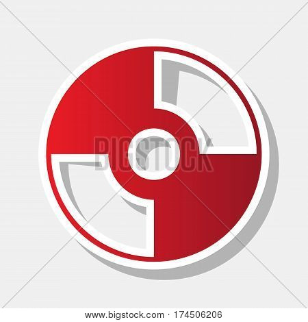 Vector CD or DVD sign. Vector. New year reddish icon with outside stroke and gray shadow on light gray background.