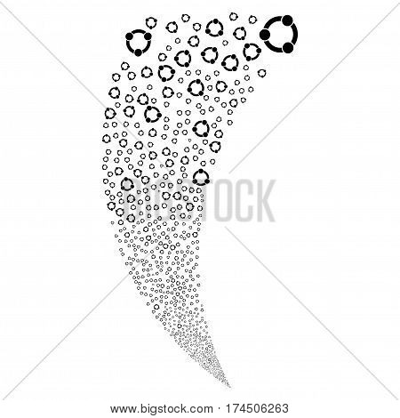 Cooperation random fireworks stream. Vector illustration style is flat black iconic symbols on a white background. Object fountain constructed from scattered pictograms.