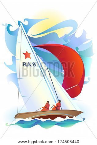 Illustration of sport sailing boat on a sea background. Sport Regatta.