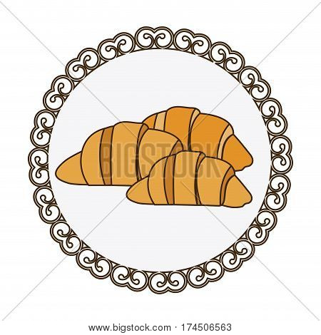 decorative frame with colorful silhouette set croissant bread icon vector illustration