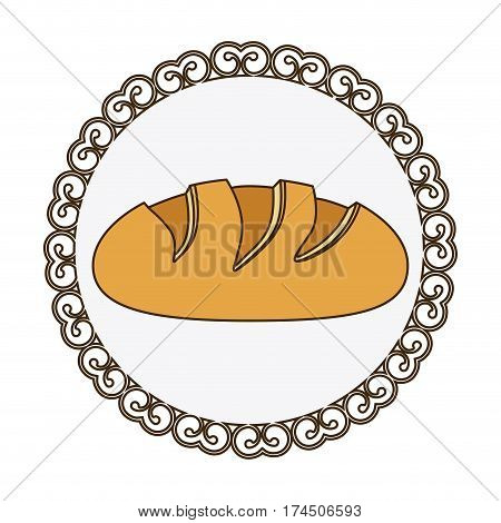 decorative frame with colorful silhouette homemade bread food icon vector illustration