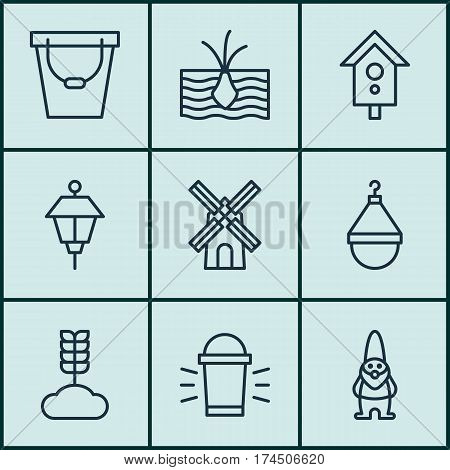 Set Of 9 Gardening Icons. Includes Birdhouse, Pail, Hanger And Other Symbols. Beautiful Design Elements.