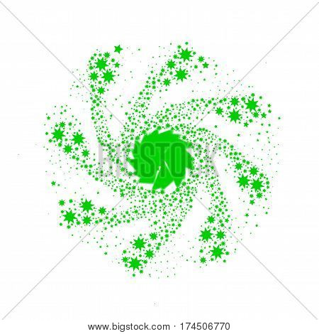 A spinning green star pin wheel or catherine wheel.
