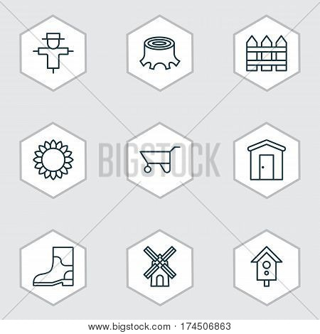Set Of 9 Planting Icons. Includes Rubber Boot, Mill, Birdhouse And Other Symbols. Beautiful Design Elements.