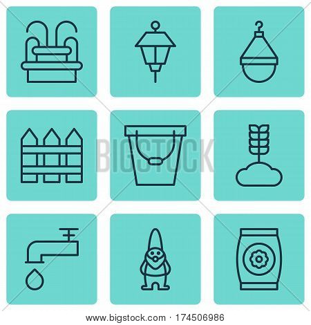 Set Of 9 Gardening Icons. Includes Water Monument, Lantern, Spigot And Other Symbols. Beautiful Design Elements.