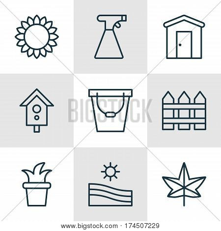 Set Of 9 Planting Icons. Includes Meadow, Birdhouse, Helianthus And Other Symbols. Beautiful Design Elements.
