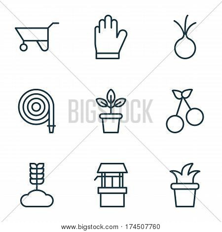 Set Of 9 Agriculture Icons. Includes Flowerpot, Water Source, Protection Mitt And Other Symbols. Beautiful Design Elements.