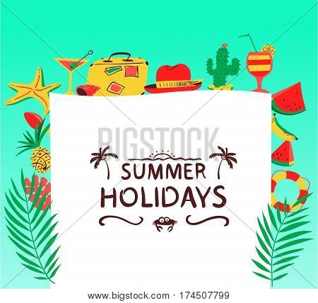 Summer background with beach objects. Vector illustration with fruits ice cream cocktail starfish and lifebuoy. Banner with Summer Holidays lettering. Seasonal backdrop