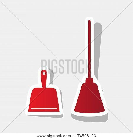 Dustpan vector sign. Scoop for cleaning garbage housework dustpan equipment. Vector. New year reddish icon with outside stroke and gray shadow on light gray background.