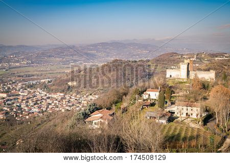 View of the hills of Montecchio Maggiore (Vicenza Italy) on which stands the castle called