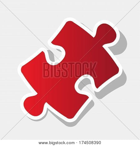 Puzzle piece sign. Vector. New year reddish icon with outside stroke and gray shadow on light gray background.