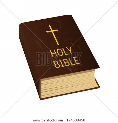 Holy Bible. ancient styled prayers book. Hard cover golden cross and letters. Vector Illustration.