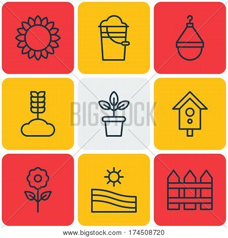 Set Of 9 Plant Icons. Includes Flowerpot, Helianthus, Cereal And Other Symbols. Beautiful Design Elements.