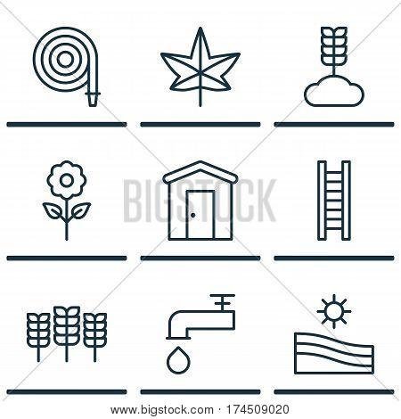 Set Of 9 Plant Icons. Includes Autumn Plant, Spigot, Farmhouse And Other Symbols. Beautiful Design Elements.