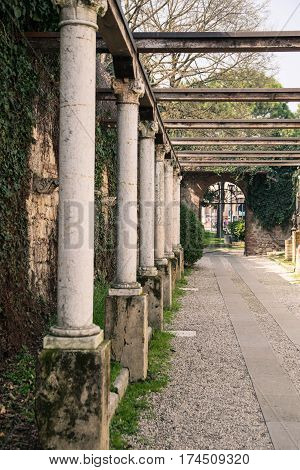 Colonnade leading to the tomb of Juliet Verona Italy.