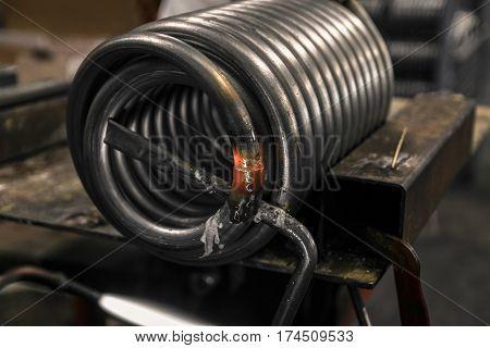 Braze welding process in a metalworking company.