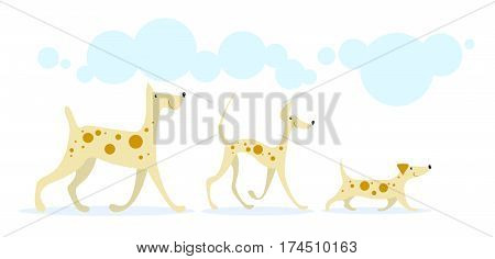 Three smiling cheerful dogs golden color in red spots running under the blue clouds. On a white background