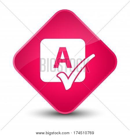 Spell Check Icon Elegant Pink Diamond Button