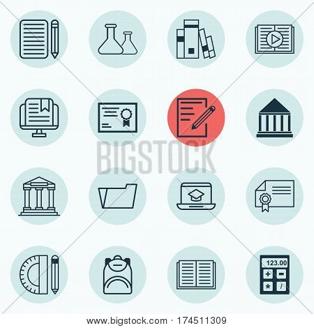 Set Of 16 Education Icons. Includes Education Center, Opened Book, Document Case And Other Symbols. Beautiful Design Elements.