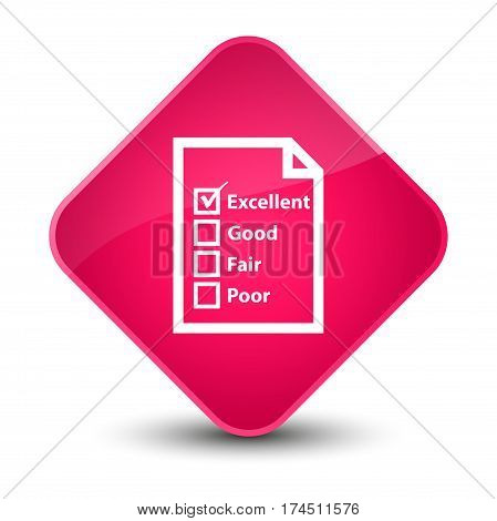 Questionnaire Icon Elegant Pink Diamond Button