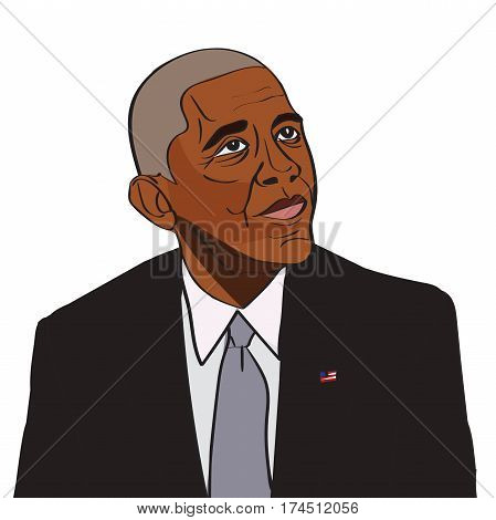 4 March, 2017: 44th US President Barack Obama drawing vector portrait.