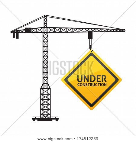 Under construction symbol with crane. Modern design. Vector illustration