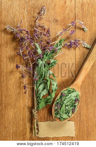 Fireweed. Dried herbs for use in alternative medicine spa herbal cosmetics herbal medicine preparing infusions decoctions tinctures powders ointments butter tea bath