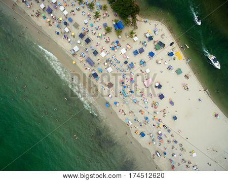 Top View of Barra do Una Beach, Sao Paulo, Brazil