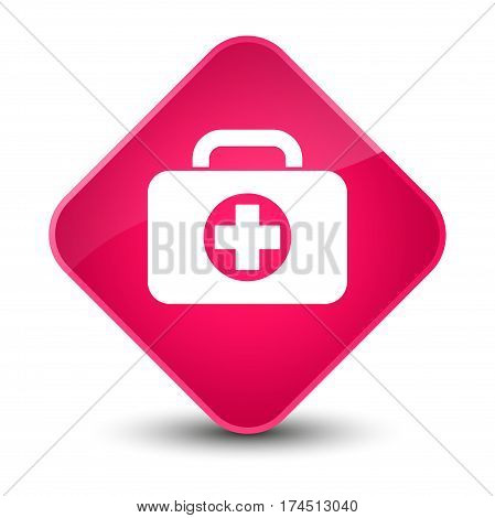 First Aid Kit Bag Icon Elegant Pink Diamond Button
