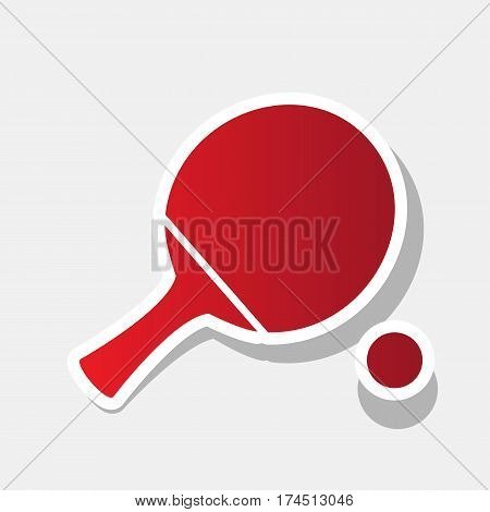 Ping pong paddle with ball. Vector. New year reddish icon with outside stroke and gray shadow on light gray background.