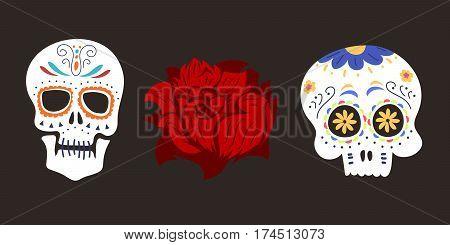 Style skull face dia de los muertos symbol vector illustration. Halloween horror style tattoo anatomy art. Cartoon decoration gothic human skeleton symbol.
