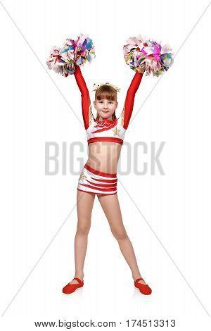 Cheerleader Girl Raised Hands Up