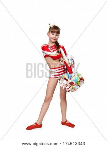 Cheerleader Girl With Two Pompoms