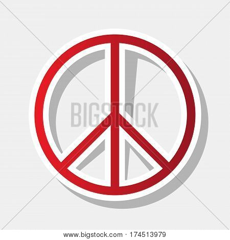 Peace sign illustration. Vector. New year reddish icon with outside stroke and gray shadow on light gray background.
