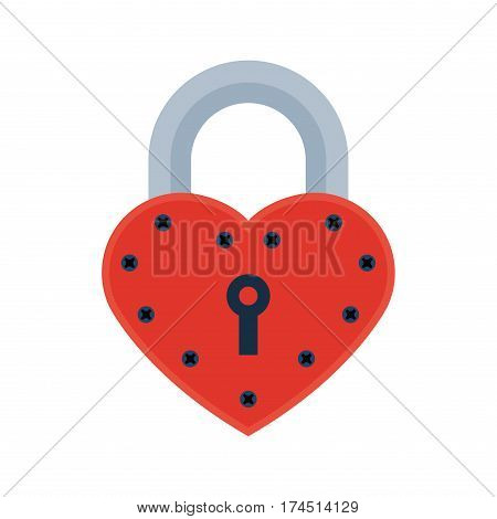 House door heart lock icon vector safety password privacy element with key and padlock protection security keyhole vector illustration. Locker close safeguard modern firewall equipment.