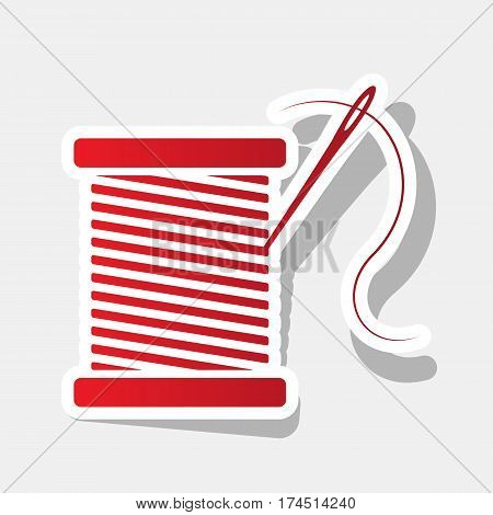 Thread with needle sign illustration. Vector. New year reddish icon with outside stroke and gray shadow on light gray background.